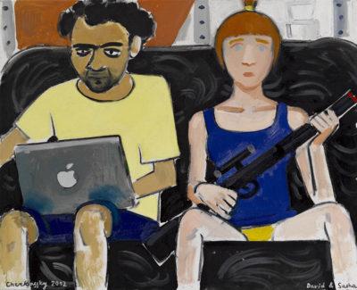 זויה צ'רקסקי, דויד וסאשה, 2012 ,שמן על בד, 70×60